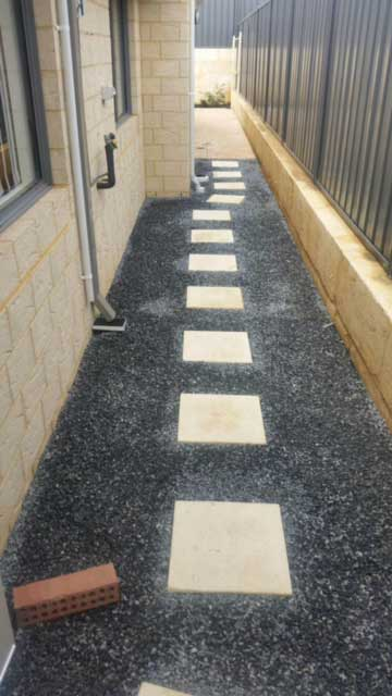 blue metal and limestone pavers