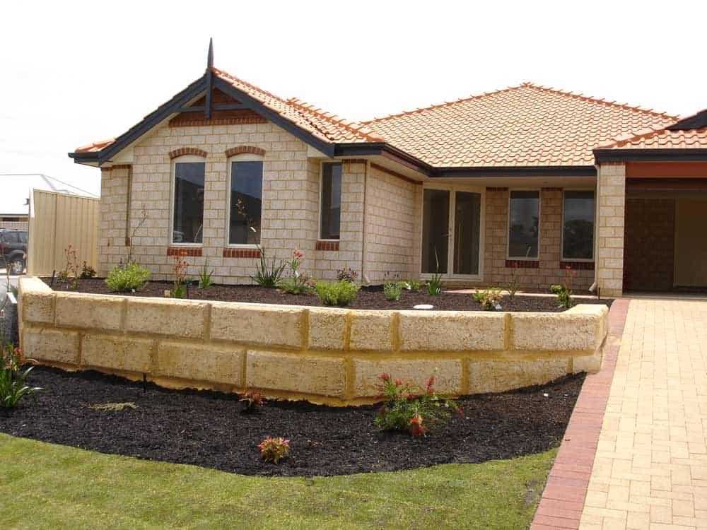 garden edging blockwork landscaping inspiration