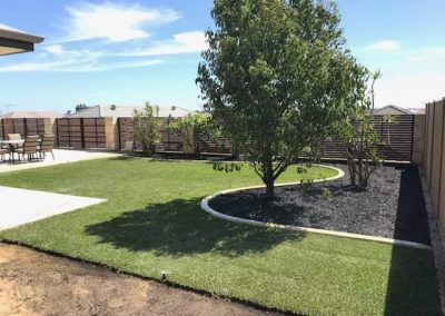 backyard landscaping garden makeover turf installation