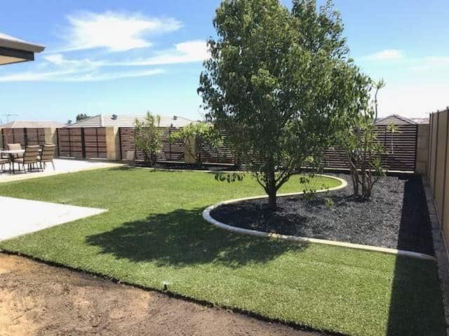 backyard landscaping garden makeover turf installation